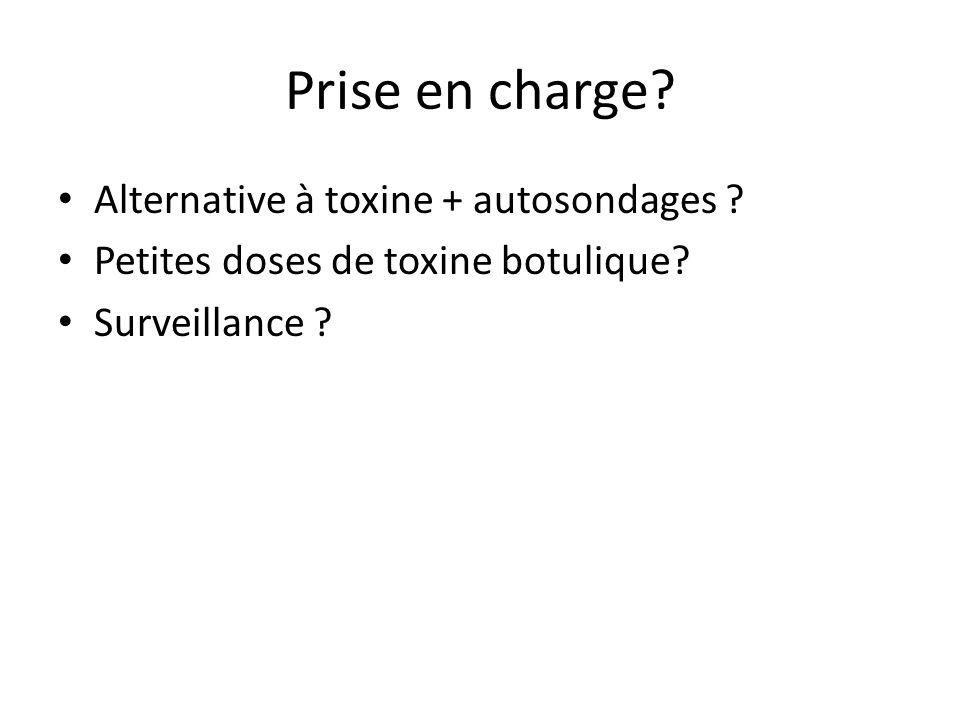 Prise en charge? Alternative à toxine + autosondages ? Petites doses de toxine botulique? Surveillance ?
