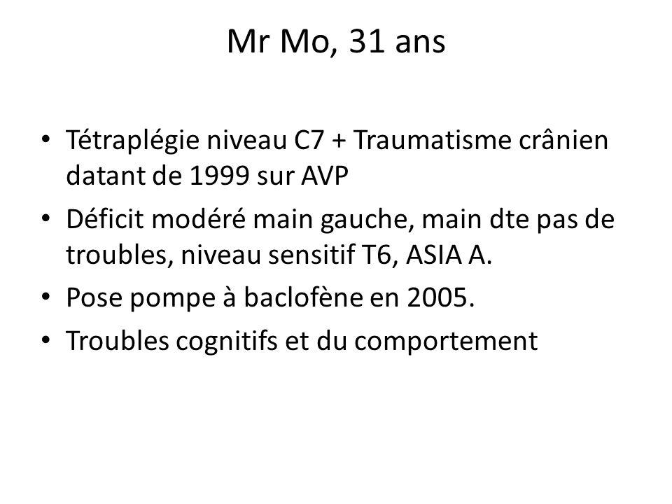 Mr Mo, 31 ans Tétraplégie niveau C7 + Traumatisme crânien datant de 1999 sur AVP Déficit modéré main gauche, main dte pas de troubles, niveau sensitif