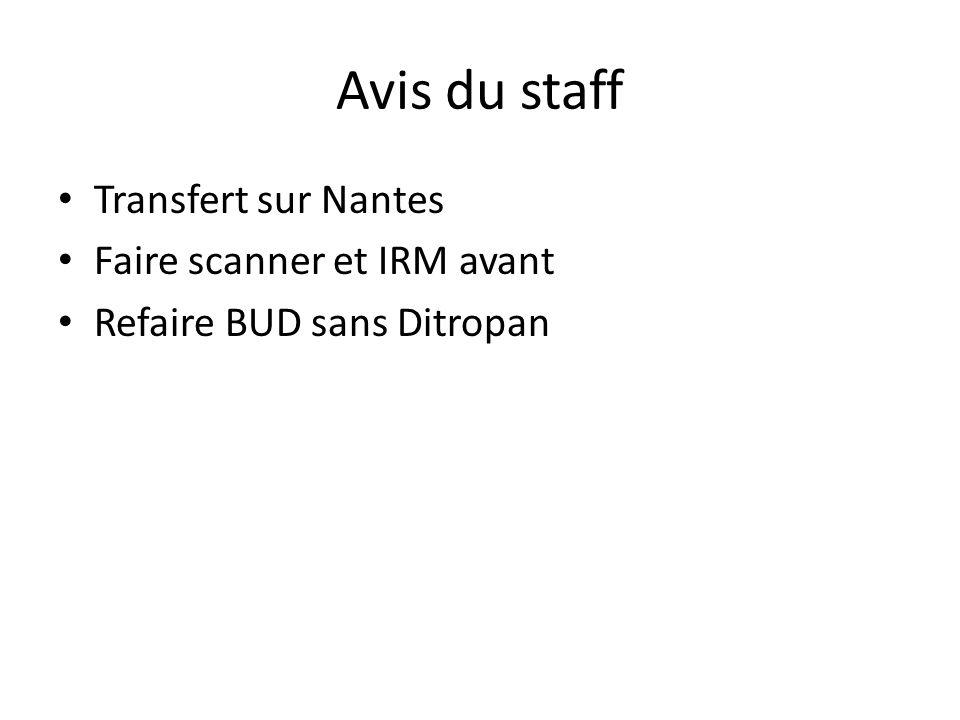 Avis du staff Transfert sur Nantes Faire scanner et IRM avant Refaire BUD sans Ditropan
