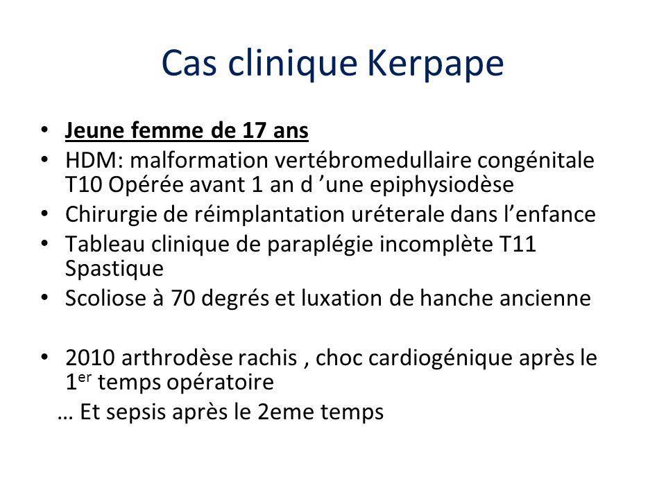 Cas clinique Kerpape Jeune femme de 17 ans HDM: malformation vertébromedullaire congénitale T10 Opérée avant 1 an d une epiphysiodèse Chirurgie de réi