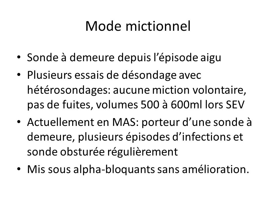 Bilan para clinique Fonction rénale: créatinine= 47µmol/l Échographie réno-vésicale: pas danomalie BUD (avril 2010)