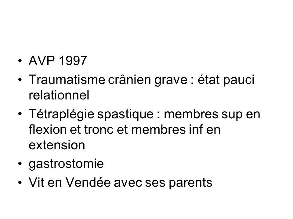 AVP 1997 Traumatisme crânien grave : état pauci relationnel Tétraplégie spastique : membres sup en flexion et tronc et membres inf en extension gastro