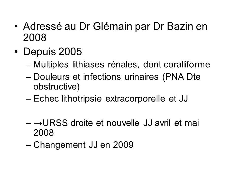 Adressé au Dr Glémain par Dr Bazin en 2008 Depuis 2005 –Multiples lithiases rénales, dont coralliforme –Douleurs et infections urinaires (PNA Dte obst
