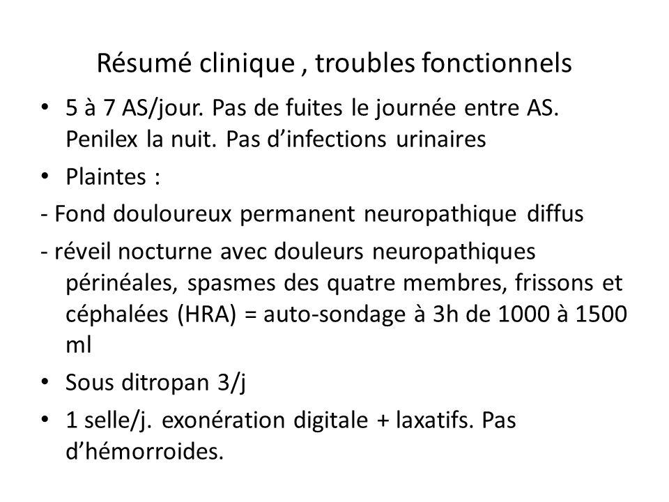 Bilan para clinique Fonction rénale biologique (urée, creat, clairance mesurée) normale EVR fin 2009 normale Calendrier mictionnel BUD