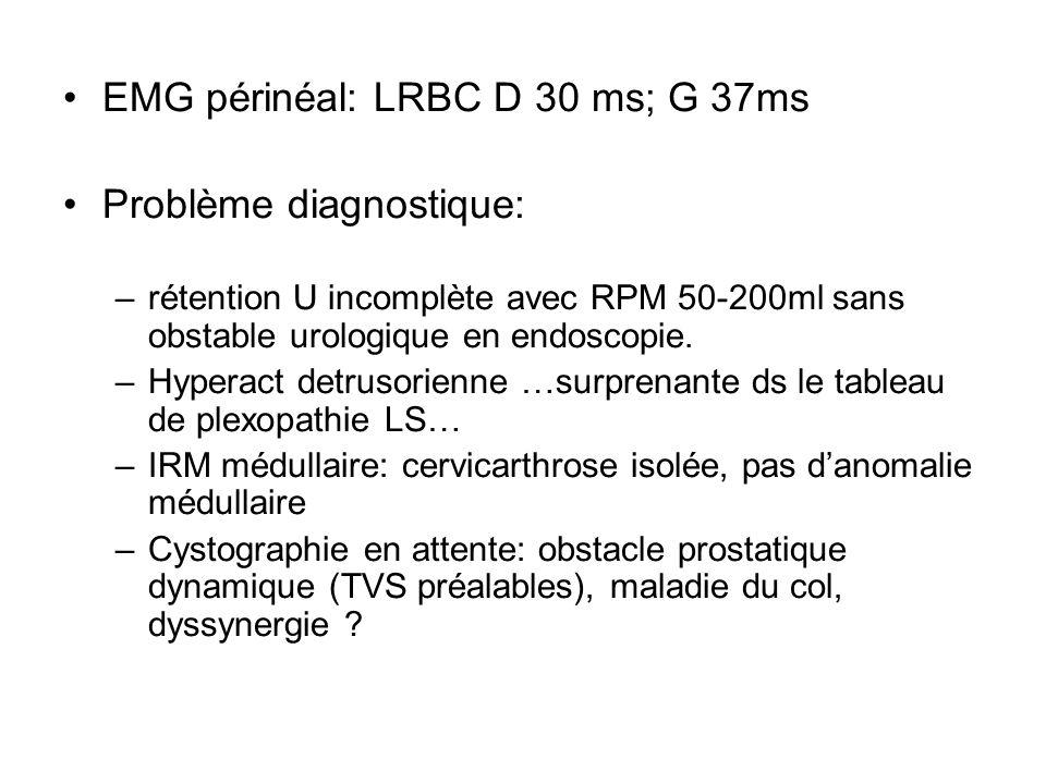 EMG périnéal: LRBC D 30 ms; G 37ms Problème diagnostique: –rétention U incomplète avec RPM 50-200ml sans obstable urologique en endoscopie. –Hyperact