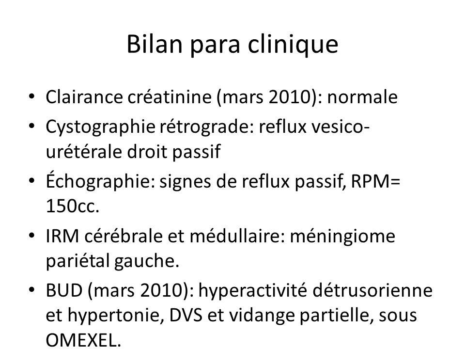 Bilan para clinique Clairance créatinine (mars 2010): normale Cystographie rétrograde: reflux vesico- urétérale droit passif Échographie: signes de re