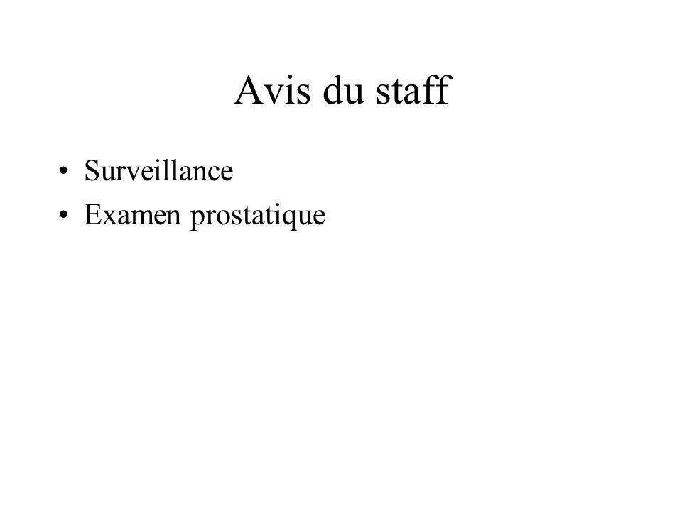 Avis du staff Surveillance Examen prostatique