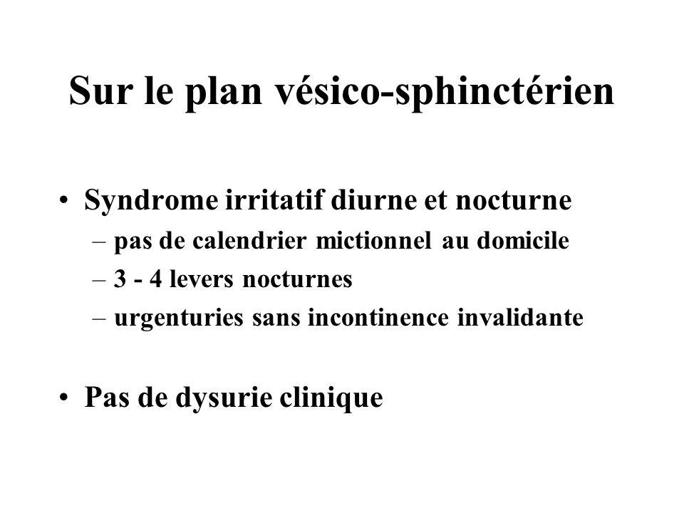 Sur le plan vésico-sphinctérien Syndrome irritatif diurne et nocturne –pas de calendrier mictionnel au domicile –3 - 4 levers nocturnes –urgenturies s