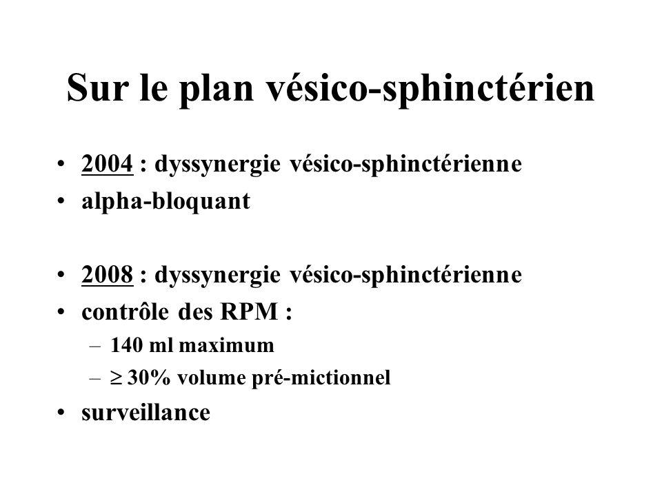 Sur le plan vésico-sphinctérien 2004 : dyssynergie vésico-sphinctérienne alpha-bloquant 2008 : dyssynergie vésico-sphinctérienne contrôle des RPM : –1