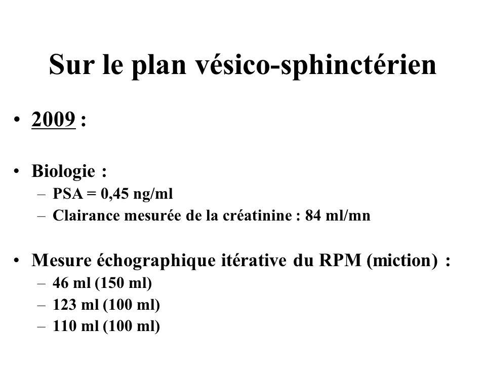 Sur le plan vésico-sphinctérien 2009 : Biologie : –PSA = 0,45 ng/ml –Clairance mesurée de la créatinine : 84 ml/mn Mesure échographique itérative du R