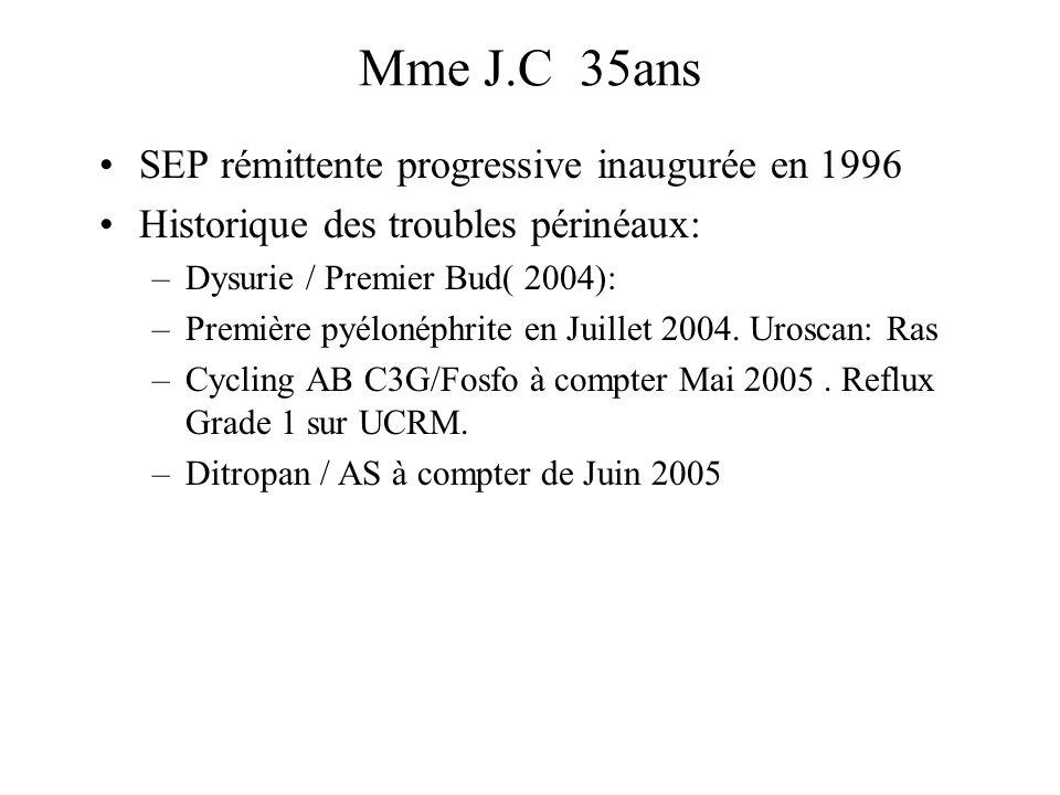 SEP rémittente progressive inaugurée en 1996 Historique des troubles périnéaux: –Dysurie / Premier Bud( 2004): –Première pyélonéphrite en Juillet 2004.