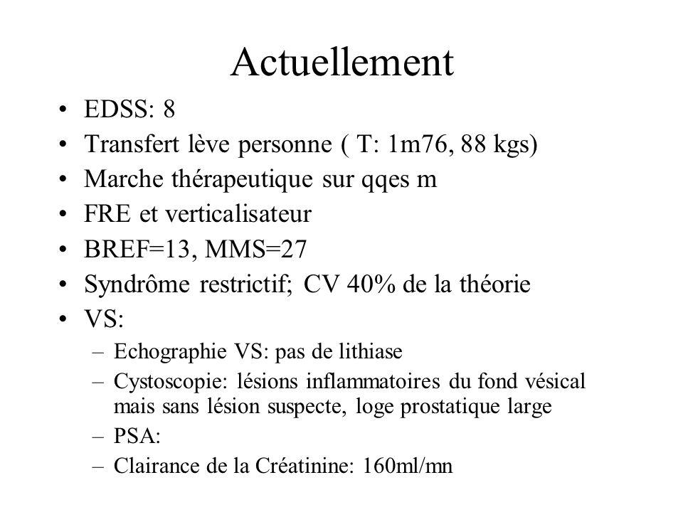 Actuellement EDSS: 8 Transfert lève personne ( T: 1m76, 88 kgs) Marche thérapeutique sur qqes m FRE et verticalisateur BREF=13, MMS=27 Syndrôme restrictif; CV 40% de la théorie VS: –Echographie VS: pas de lithiase –Cystoscopie: lésions inflammatoires du fond vésical mais sans lésion suspecte, loge prostatique large –PSA: –Clairance de la Créatinine: 160ml/mn