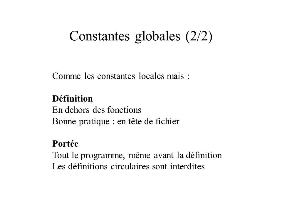 Constantes globales (2/2) Comme les constantes locales mais : Définition En dehors des fonctions Bonne pratique : en tête de fichier Portée Tout le programme, même avant la définition Les définitions circulaires sont interdites