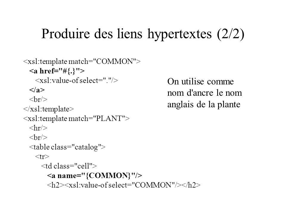 Produire des liens hypertextes (2/2) On utilise comme nom d ancre le nom anglais de la plante