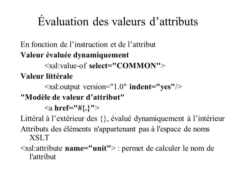 Évaluation des valeurs dattributs En fonction de linstruction et de lattribut Valeur évaluée dynamiquement Valeur littérale Modèle de valeur dattribut Littéral à lextérieur des {}, évalué dynamiquement à lintérieur Attributs des éléments n appartenant pas à l espace de noms XSLT : permet de calculer le nom de l attribut