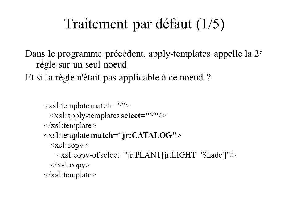 Traitement par défaut (1/5) Dans le programme précédent, apply-templates appelle la 2 e règle sur un seul noeud Et si la règle n était pas applicable à ce noeud