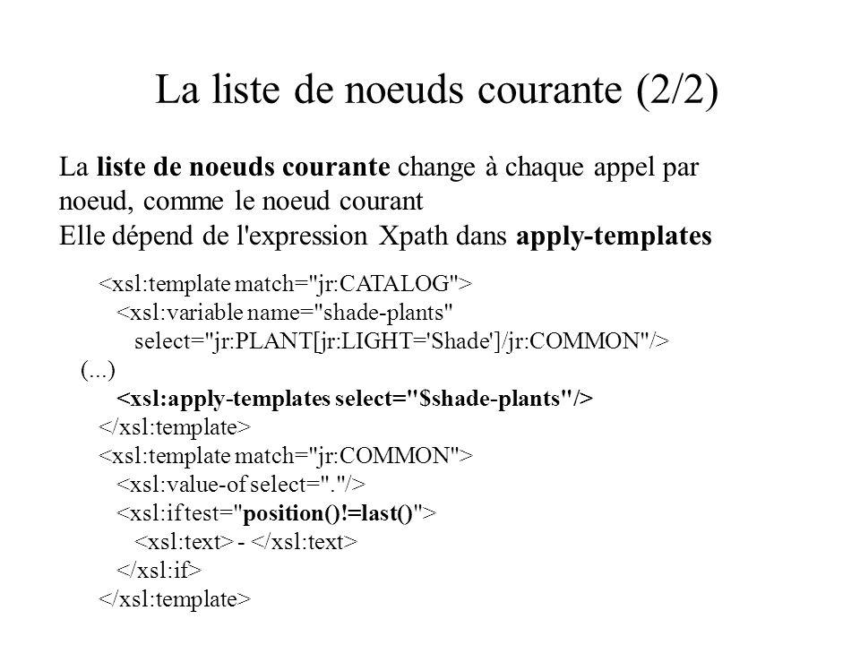 La liste de noeuds courante (2/2) La liste de noeuds courante change à chaque appel par noeud, comme le noeud courant Elle dépend de l expression Xpath dans apply-templates <xsl:variable name= shade-plants select= jr:PLANT[jr:LIGHT= Shade ]/jr:COMMON /> (...) -