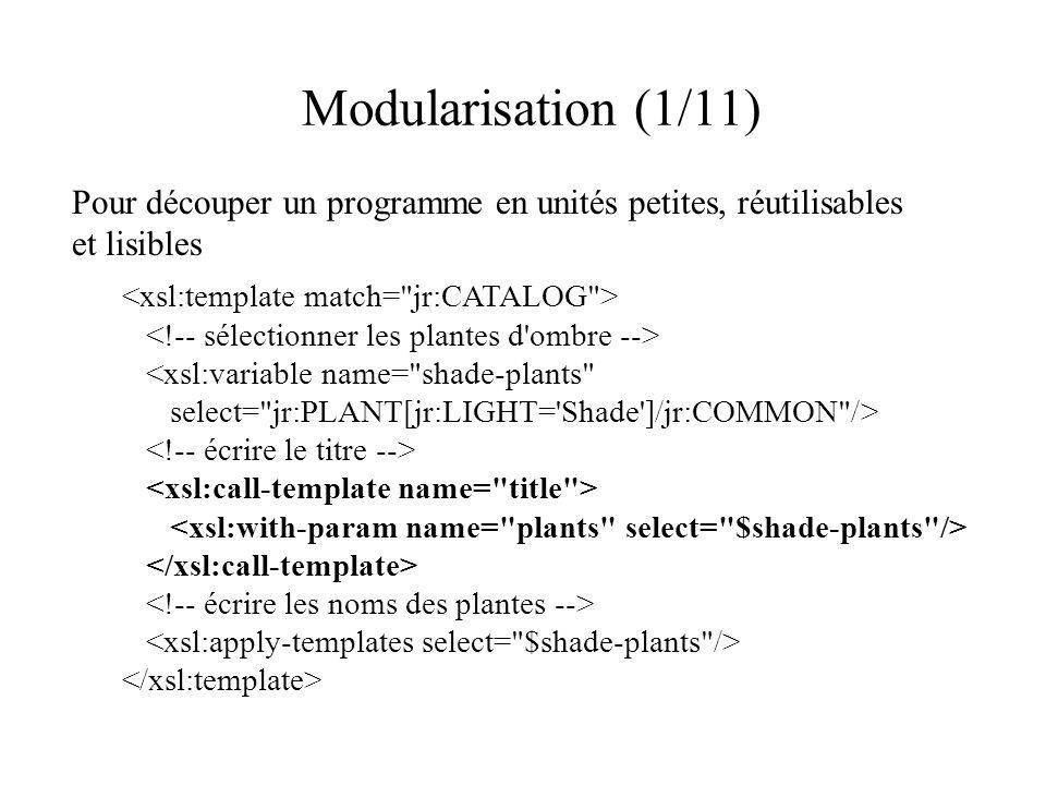 Modularisation (1/11) Pour découper un programme en unités petites, réutilisables et lisibles <xsl:variable name= shade-plants select= jr:PLANT[jr:LIGHT= Shade ]/jr:COMMON />