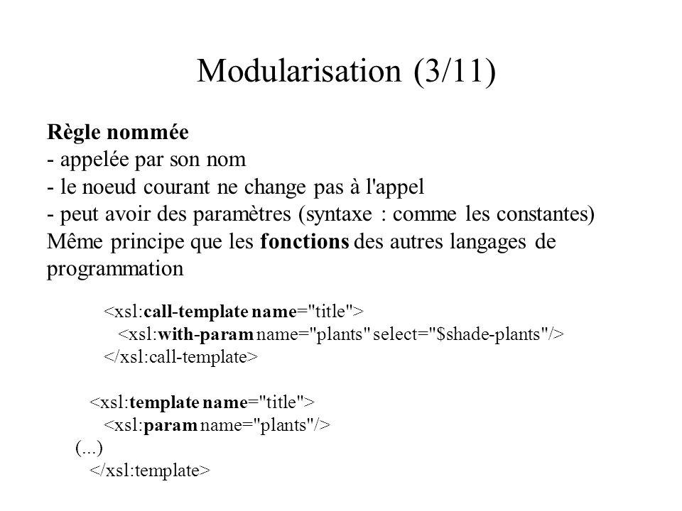 Modularisation (3/11) Règle nommée - appelée par son nom - le noeud courant ne change pas à l appel - peut avoir des paramètres (syntaxe : comme les constantes) Même principe que les fonctions des autres langages de programmation (...)