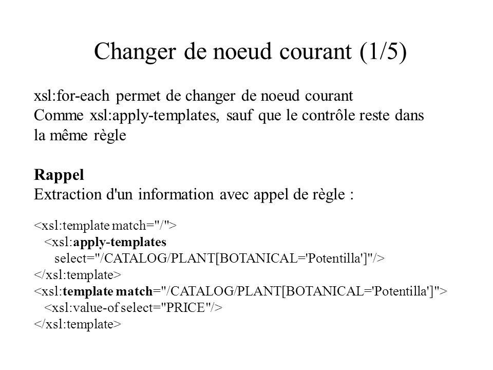 Changer de noeud courant (1/5) xsl:for-each permet de changer de noeud courant Comme xsl:apply-templates, sauf que le contrôle reste dans la même règle Rappel Extraction d un information avec appel de règle : <xsl:apply-templates select= /CATALOG/PLANT[BOTANICAL= Potentilla ] />
