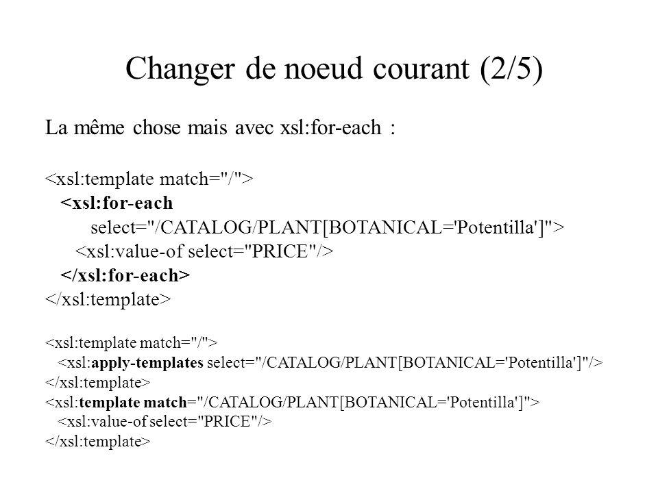 Changer de noeud courant (2/5) La même chose mais avec xsl:for-each : <xsl:for-each select= /CATALOG/PLANT[BOTANICAL= Potentilla ] >