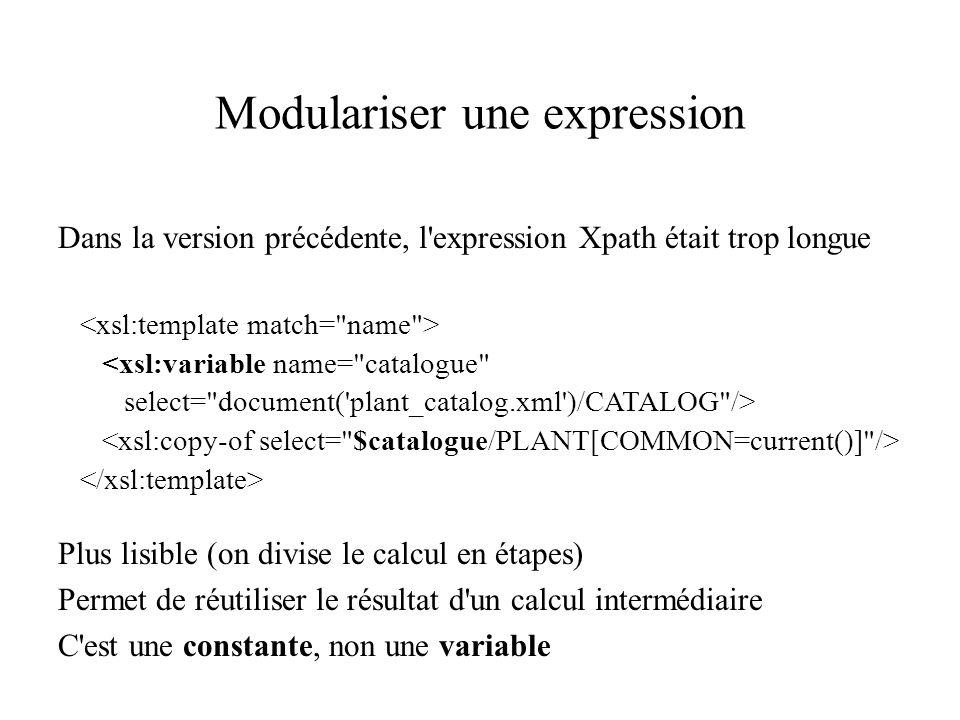 Modulariser une expression Dans la version précédente, l expression Xpath était trop longue <xsl:variable name= catalogue select= document( plant_catalog.xml )/CATALOG /> Plus lisible (on divise le calcul en étapes) Permet de réutiliser le résultat d un calcul intermédiaire C est une constante, non une variable