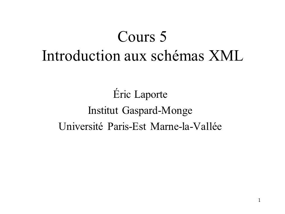 1 Cours 5 Introduction aux schémas XML Éric Laporte Institut Gaspard-Monge Université Paris-Est Marne-la-Vallée