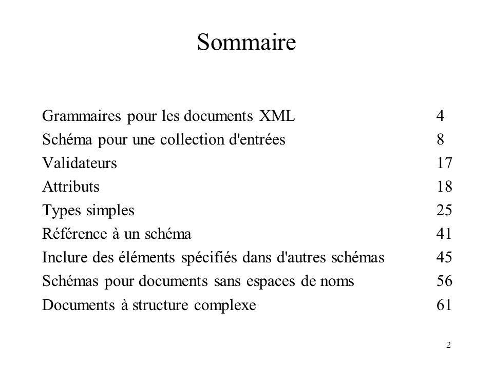 2 Sommaire Grammaires pour les documents XML4 Schéma pour une collection d'entrées8 Validateurs17 Attributs18 Types simples25 Référence à un schéma41