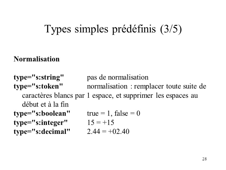 28 Types simples prédéfinis (3/5) Normalisation type=