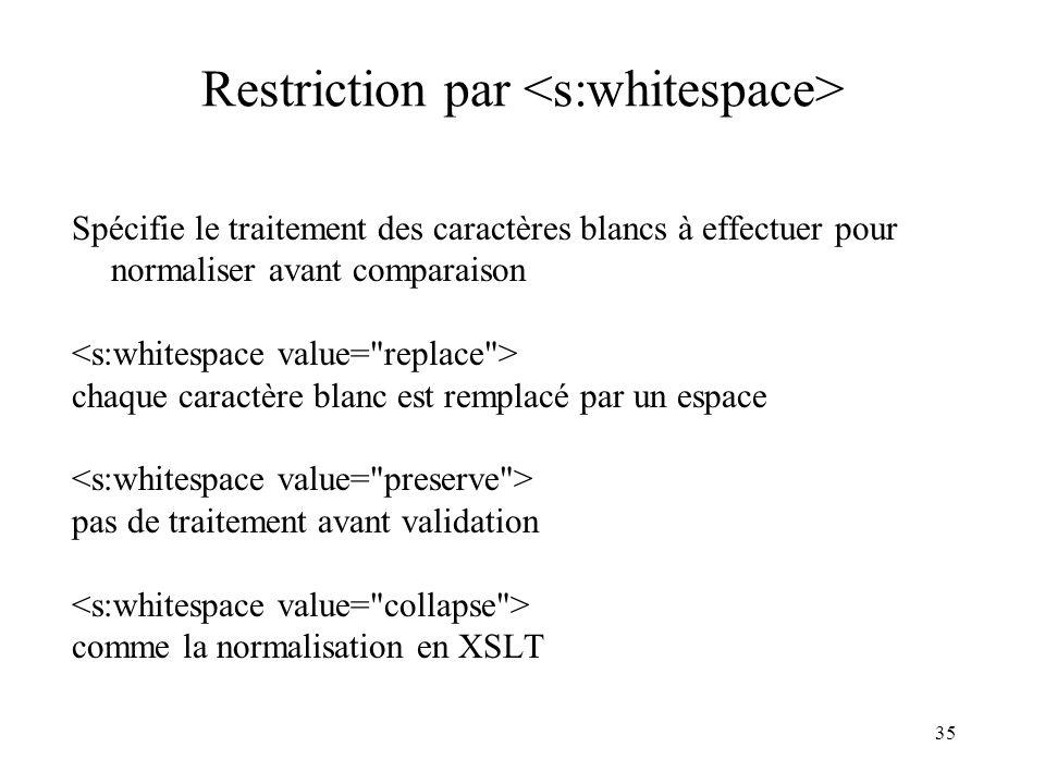 35 Restriction par Spécifie le traitement des caractères blancs à effectuer pour normaliser avant comparaison chaque caractère blanc est remplacé par