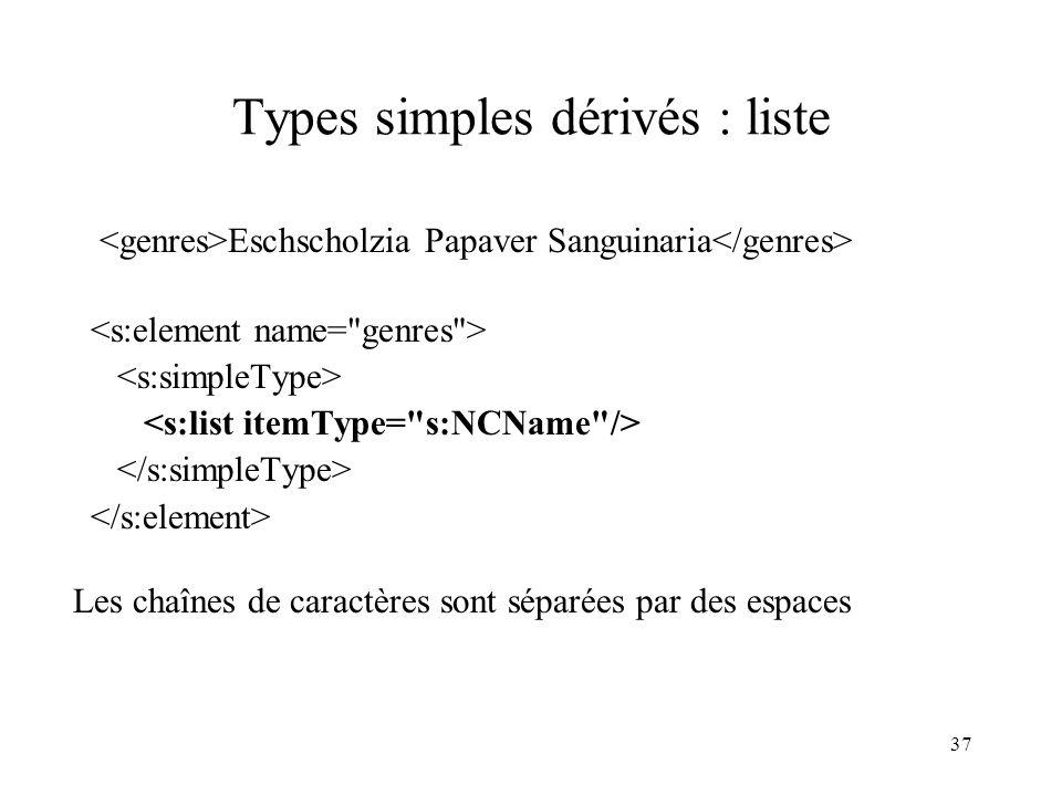 37 Types simples dérivés : liste Eschscholzia Papaver Sanguinaria Les chaînes de caractères sont séparées par des espaces