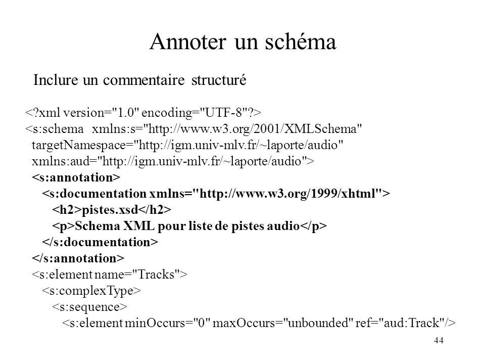 44 Annoter un schéma Inclure un commentaire structuré <s:schema xmlns:s=