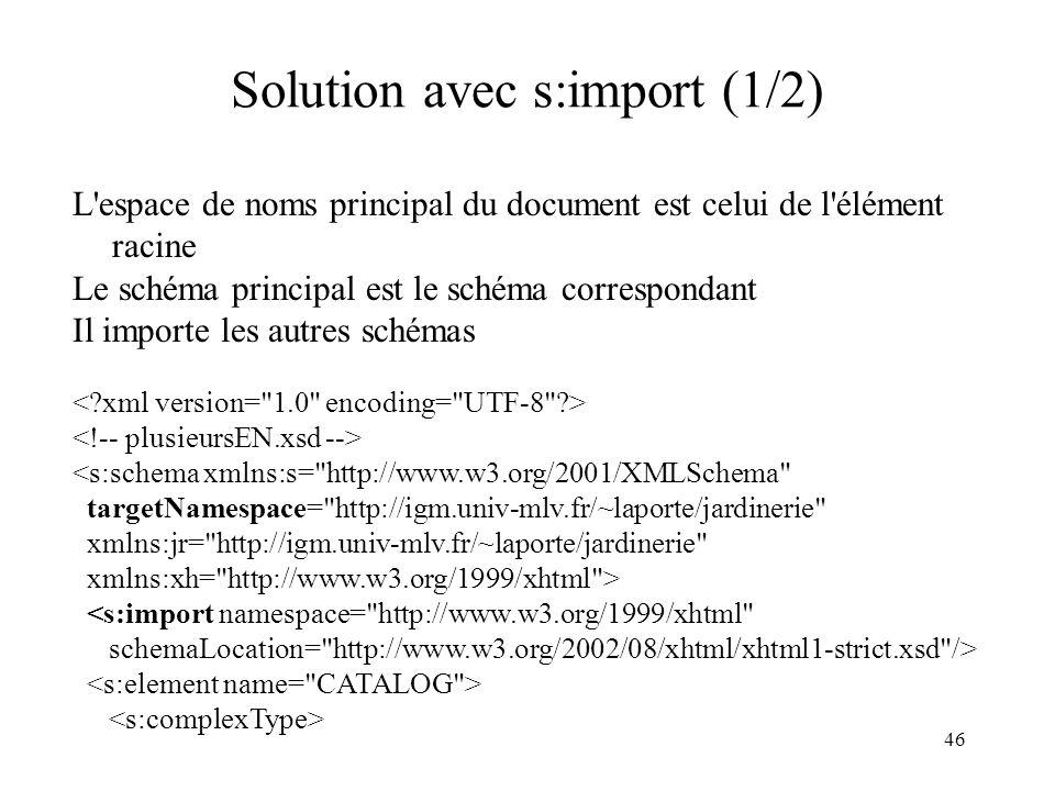 46 Solution avec s:import (1/2) L'espace de noms principal du document est celui de l'élément racine Le schéma principal est le schéma correspondant I