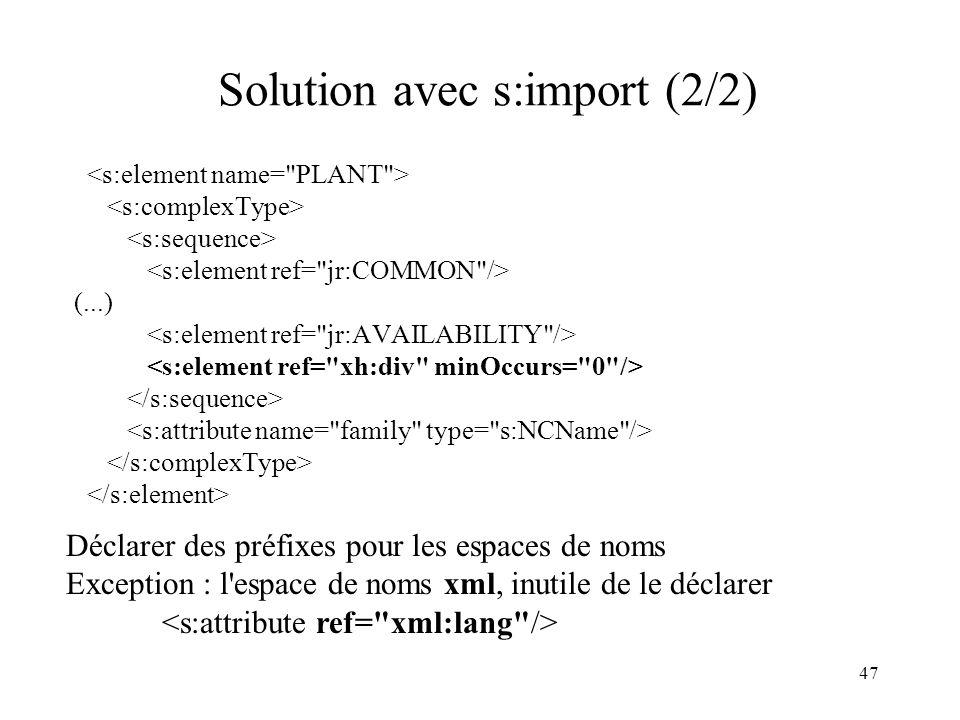 47 Solution avec s:import (2/2) (...) Déclarer des préfixes pour les espaces de noms Exception : l'espace de noms xml, inutile de le déclarer