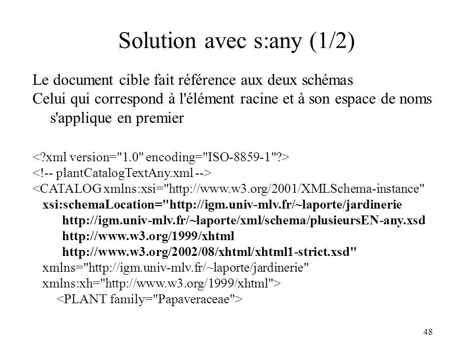 48 Solution avec s:any (1/2) Le document cible fait référence aux deux schémas Celui qui correspond à l'élément racine et à son espace de noms s'appli