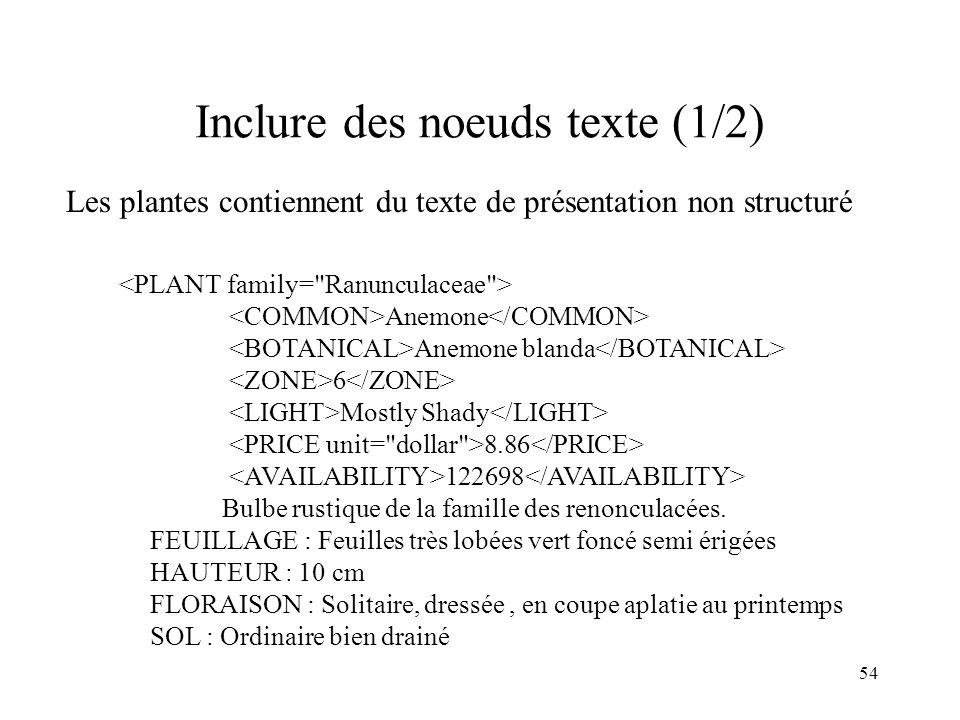 54 Inclure des noeuds texte (1/2) Les plantes contiennent du texte de présentation non structuré Anemone Anemone blanda 6 Mostly Shady 8.86 122698 Bul