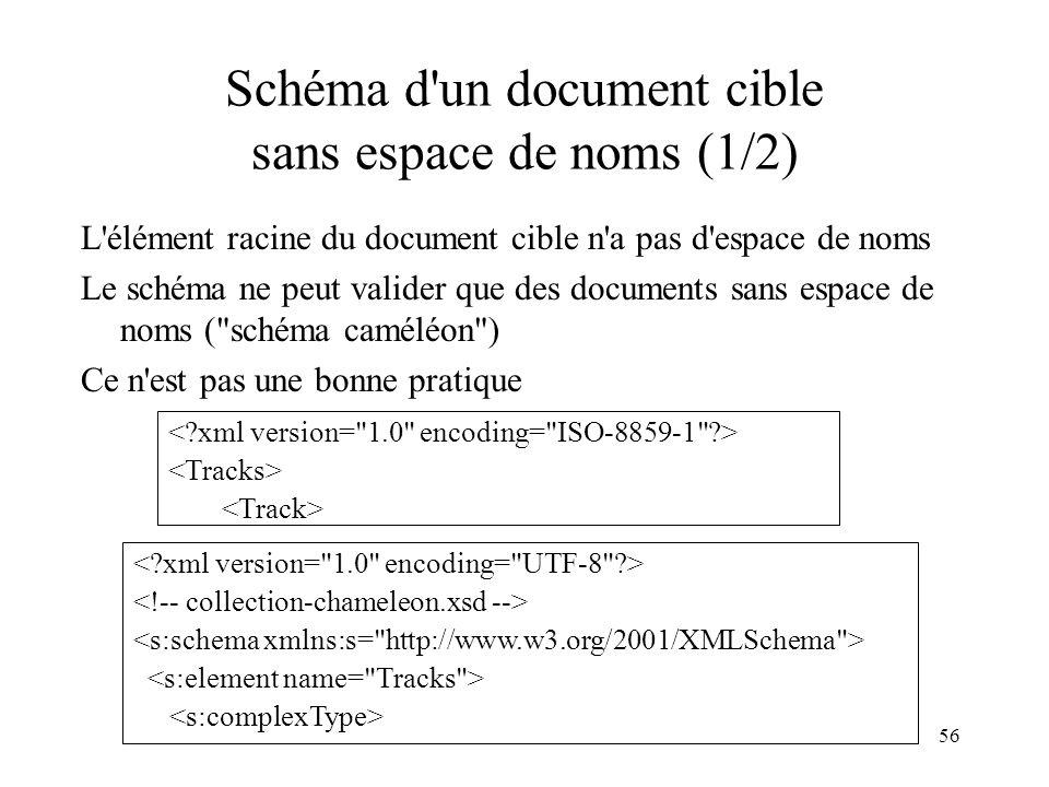 56 Schéma d'un document cible sans espace de noms (1/2) L'élément racine du document cible n'a pas d'espace de noms Le schéma ne peut valider que des