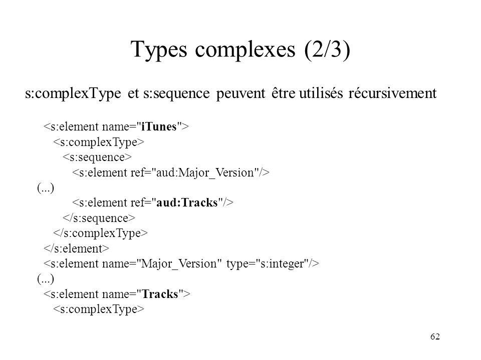 62 Types complexes (2/3) s:complexType et s:sequence peuvent être utilisés récursivement (...) (...)