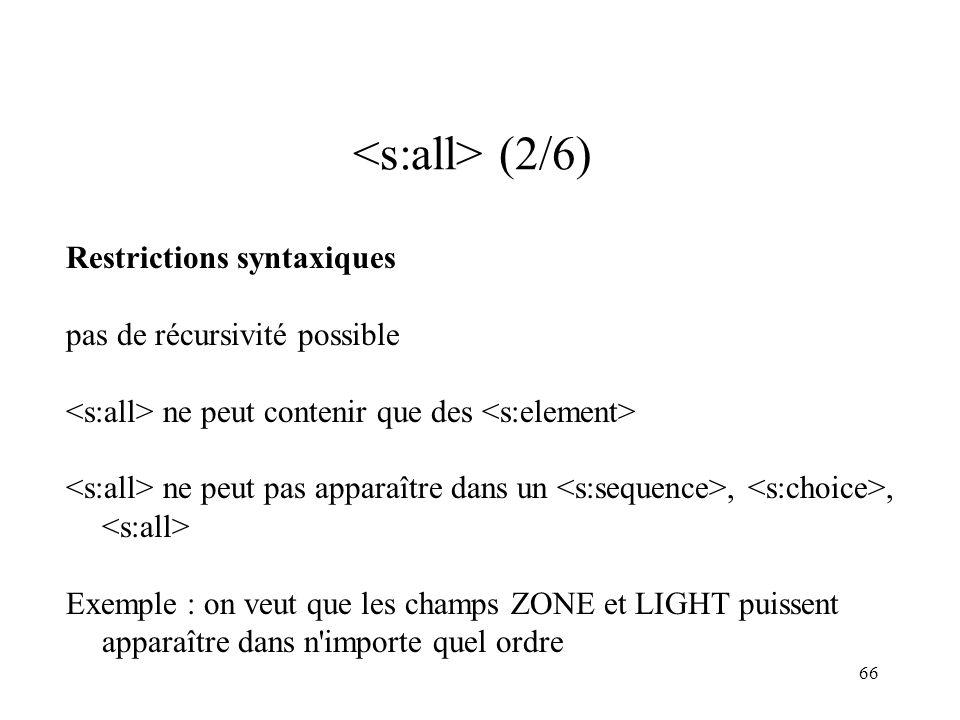 66 (2/6) Restrictions syntaxiques pas de récursivité possible ne peut contenir que des ne peut pas apparaître dans un,, Exemple : on veut que les cham