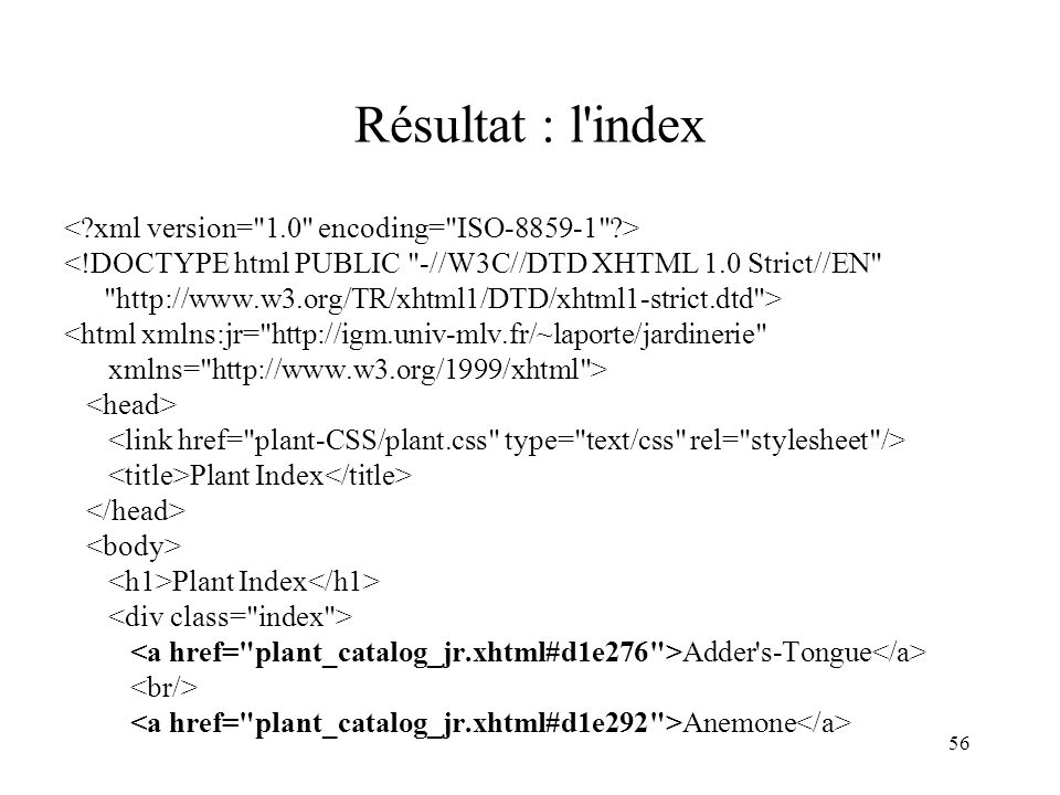 56 Résultat : l'index <html xmlns:jr=