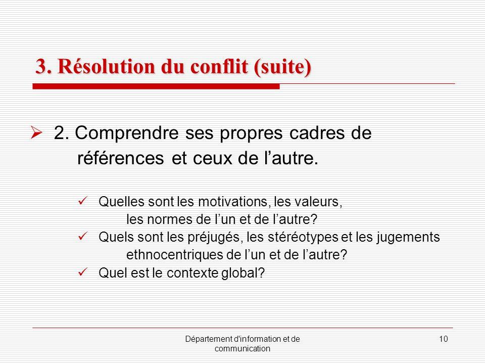 Département d'information et de communication 10 3. Résolution du conflit (suite) 2. Comprendre ses propres cadres de références et ceux de lautre. Qu