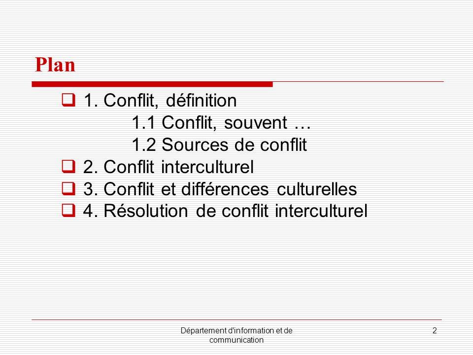 Département d'information et de communication 2 Plan 1. Conflit, définition 1.1 Conflit, souvent … 1.2 Sources de conflit 2. Conflit interculturel 3.