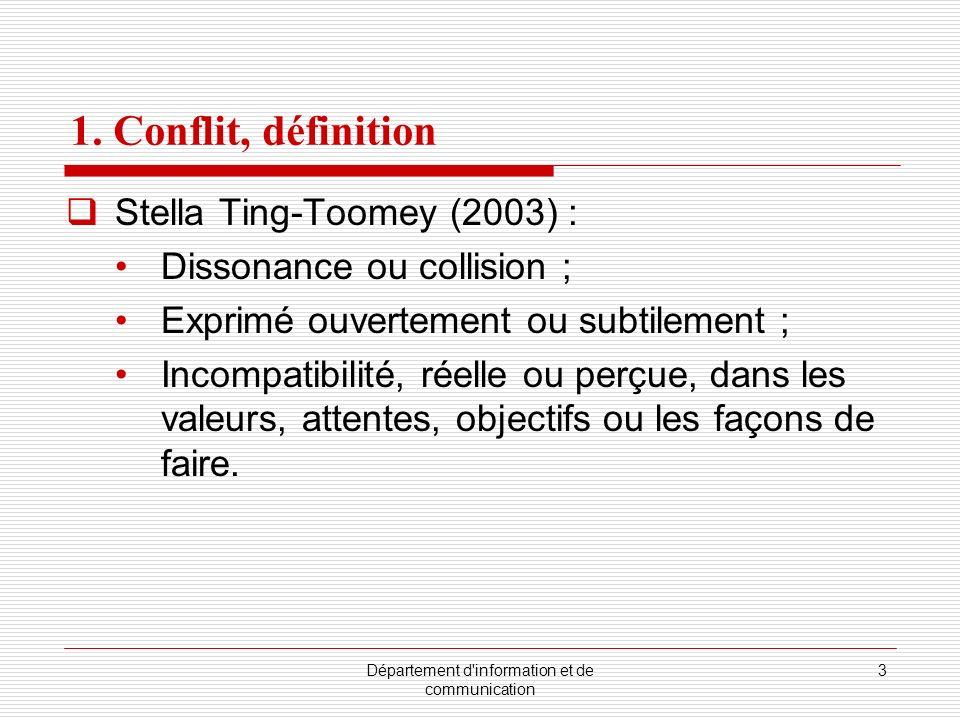 Département d'information et de communication 3 1. Conflit, définition Stella Ting-Toomey (2003) : Dissonance ou collision ; Exprimé ouvertement ou su