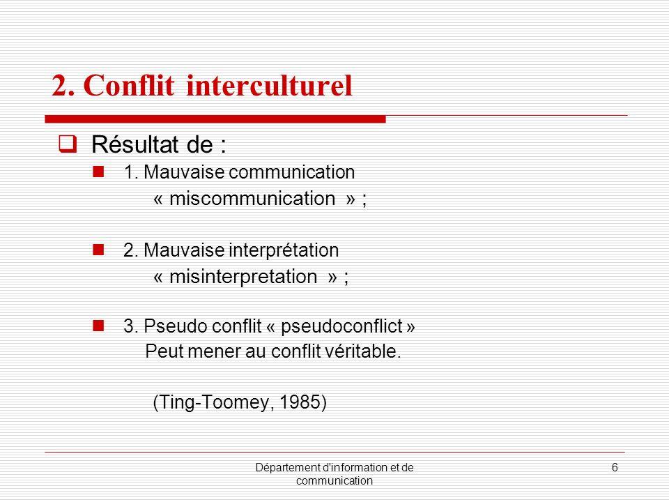 Département d'information et de communication 6 2. Conflit interculturel Résultat de : 1. Mauvaise communication « miscommunication » ; 2. Mauvaise in