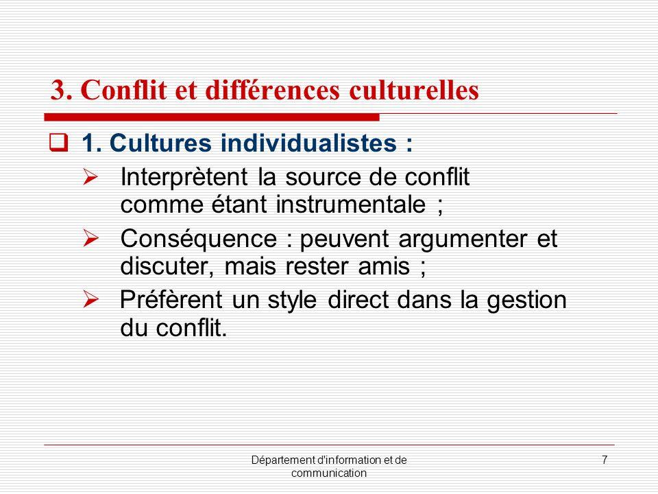 Département d'information et de communication 7 3. Conflit et différences culturelles 1. Cultures individualistes : Interprètent la source de conflit