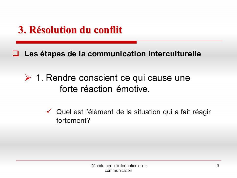 Département d'information et de communication 9 Les étapes de la communication interculturelle 1. Rendre conscient ce qui cause une forte réaction émo