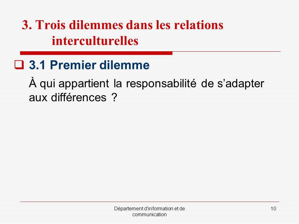 Département d'information et de communication 10 3. Trois dilemmes dans les relations interculturelles 3.1 Premier dilemme À qui appartient la respons