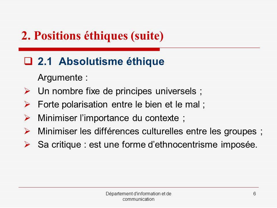 Département d'information et de communication 6 2. Positions éthiques (suite) 2.1 Absolutisme éthique Argumente : Un nombre fixe de principes universe