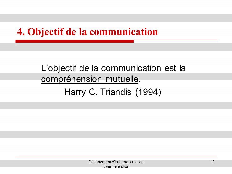Département d information et de communication 12 4.