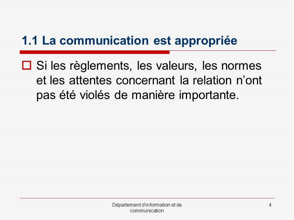 Département d information et de communication 4 1.1 La communication est appropriée Si les règlements, les valeurs, les normes et les attentes concernant la relation nont pas été violés de manière importante.